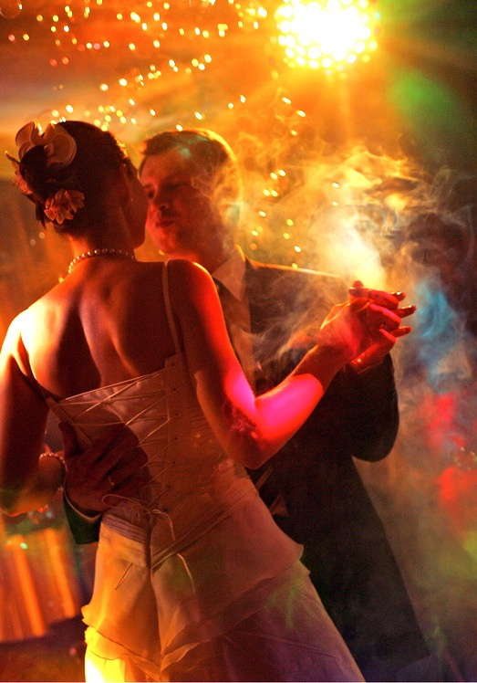 couple dancing in smoke